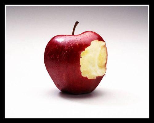 Apple nibbled framed